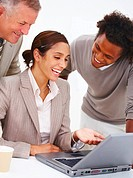 Happy business people using laptop isolated