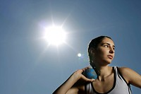 Woman making shotput