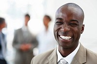 Closeup portrait of a good looking African American business man