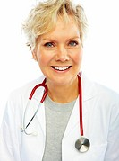 Portrait of a happy old female doctor isolated over white background