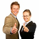Young happy business man and woman showing success sign
