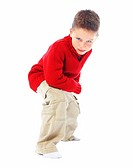 Portrait of a small boy gesturing isolated over white background
