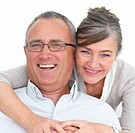 Cut _ out of a happy mature couple