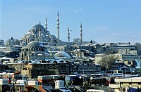Cityscape dominated by the Suleymaniye Mosque, an Ottoman imperial mosque in Istanbul, Turkey.