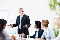 Mature business man training his associates during a meeting