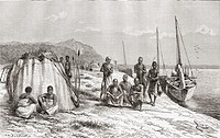Congolese tribesmen by their boats on the Congo river in the 19th century  From the book Africa Pintoresca published 1888
