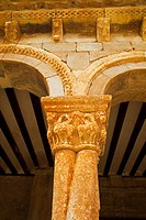 Detail of column with twisted shafts in the gallery of the Romanesque Church of San Pedro (12th century), Caracena, Soria province, Castilla-Leon, Spa...
