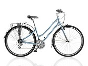 Classic style light blue womens bicycle isolated on white background