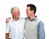 Portrait of a father and son looking at eachother against white background