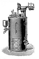 Steam pasteurization. Old book illustration, 1900