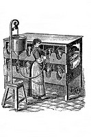 Stufing machine to fatten birds. Old book illustration, 1900