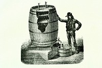 Vinegar obtention. Old illustration of a book, 1889