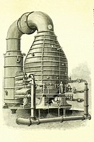 Boiler for the manufacture of sugar. Installed in 1884 in the California Sugar Refinery, San Francisco. Enlightenment 1885 old