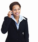 Young smiling African American business woman talking on cellphone over white background