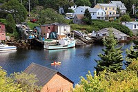 fishing village at sunset, Herring Cove, Nova Scotia, Atlantic Canada