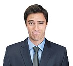 Young business man making a funny face isolated against white