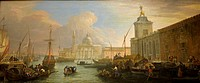 The Bacino, Venice, with the Dogana and a Distant View of the Isola di San Giorgio, ca  1709, by Luca Carlevaris Italian, Venetian, 1663-1730, Oil on ...