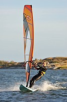 Windsurfer on the sea, Sweden.