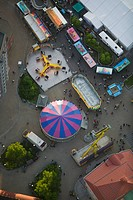 Aerial view of a funfair, Sweden.