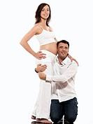 caucasian couple expecting baby isolated studio on white background