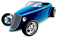 Vectorial image of old-fashioned blue hot rod, isolated on white background  Contains gradients and blends