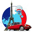 Vectorial round vignette on theme of French and Paris on background French symbolism and Tower, executed in National color of French  No gradients and...