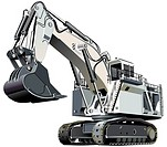 Detailed vectorial image of large white excavator, isolated on white background  Contains gradients and blends