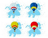 Vectorial icon set of hot air balloon on blue blot background  Every balloon is in separate layers  No gradients and blends
