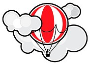 schematic image of balloon, soaring in clouds