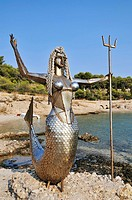 Statue of mermaid at Faros area, old port, Spetses town, Spetses island, Greece