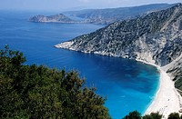 Panoramic view of Myrtos beach, Kefallonia island, Greece