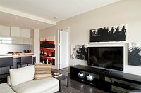 interior, living room, Canada House, Millennium project, False Creek, Vancouver, BC, Canada  It's the former Vancouver Olympic Village