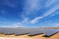 huge solar field with cloudy sky in Soria, Spain