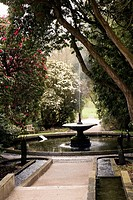 Cumbria, England, A Water Fountain In The Gardens At Holker Hall