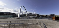 Newcastle, Northumberland, England, A White Arch On A Bridge Over A River