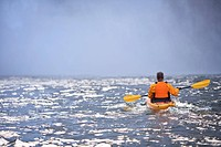 Washington, United States Of America, A Man Kayaking Near Snoqualmie Falls