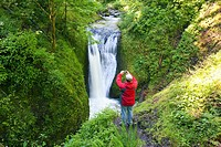 Oregon, United States Of America, A Man Taking A Picture Of Middle Oneonta Falls In Columbia River Gorge National Scenic Area