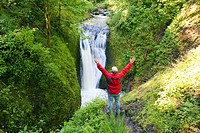 Oregon, United States Of America, A Man With His Arms Stretched Upwards While Looking At Middle Oneonta Falls In Columbia River Gorge National Scenic ...