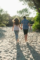 Young couple walking across sand, rear view