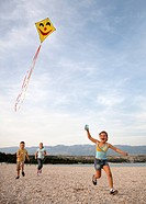 Children flying kite at beach