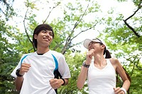 A Young Couple Jogging