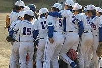 Boys in baseball uniform in a huddle