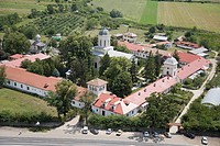 Aerial photograph of a church in Romania