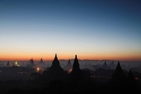 The Sun Rising Over the Silhouettes of Ancient Ruins. Bagan, Myanmar