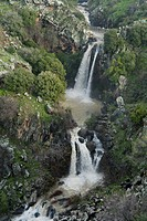 Aerial photograph of the Sa´ar waterfall in the Golan Heights