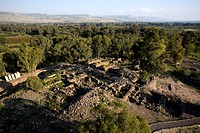 Aerial photograph of the archeologic site of Bethsaida in the Upper Galilee