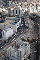 Aerial photograph of the constraction of the Light Rail Transit in the city of Jerusalem