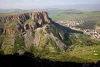 Photograph of the caves of the Arbel cliffs in the Galilee