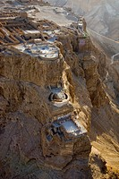 Aerial photograph of the archeologic site of Masada in the Judean Desert