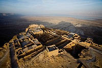 Aerial view of the ruins of the northern Palace of the archeologic site of Masada build by Herod the Great between 37 BC to 31 BC